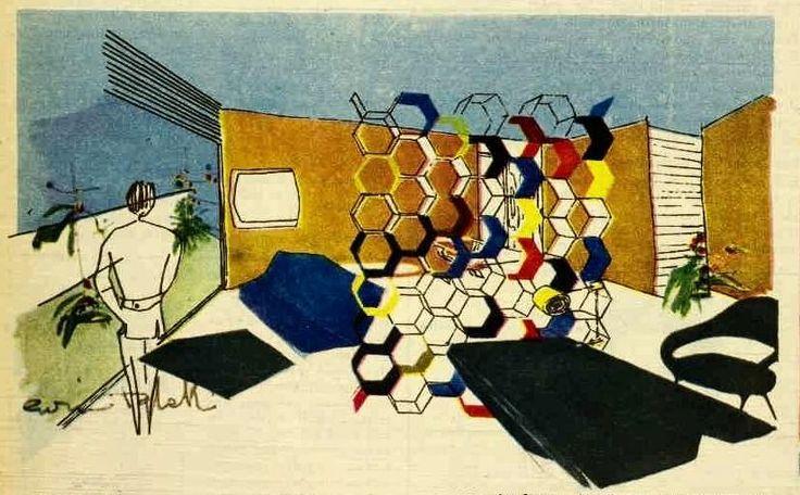 """""""""""Ultra-Modern"""" interior design by Enrico Taglietti, 1958"""""""
