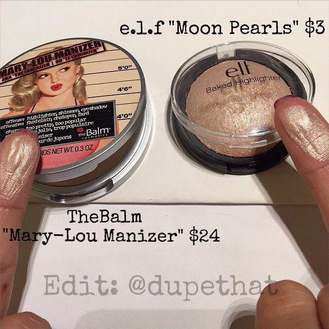 "TheBalm's ""Mary-Lou Manizer"" vs. ELF Baked Highlighter in ""Moonlight Pearls."""