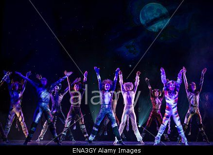 epa04723256 Cast members from the musical production of 'Cats' from London perform during a press presentation of the show, at the Mogador theatre in Paris, France, 27 April 2015. Since its debut in 1981, the musical 'Cats' has risen as one of the most popular an longest-running stage shows in the world and will soon open in Paris on 01 October.  EPA/IAN LANGSDON Stock Photo