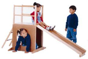 DIY ideas. Kid slide / climber. (Unknown source.)