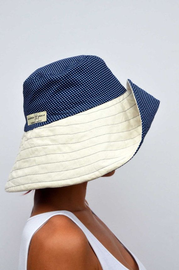 Wide brimmed summer hat sun hat reversible by VictoriaGraceClothes