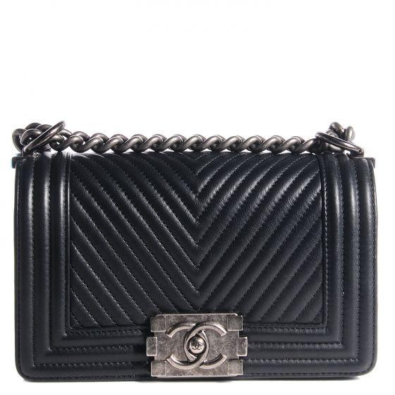 cdc3be9acba6 Classic Flap Boy Chevron Herringbone Embroidered Design Black Leather -  Calfskin Shoulder Bag