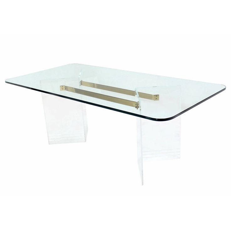 Brass And Lucite Base Thick Glass Top Dining Table