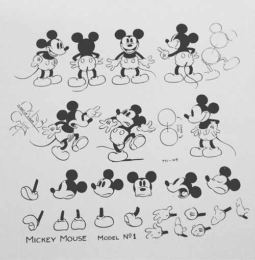 Mickey Mouse Model Sheet ✤ || CHARACTER DESIGN REFERENCES | キャラクターデザイン | çizgi…