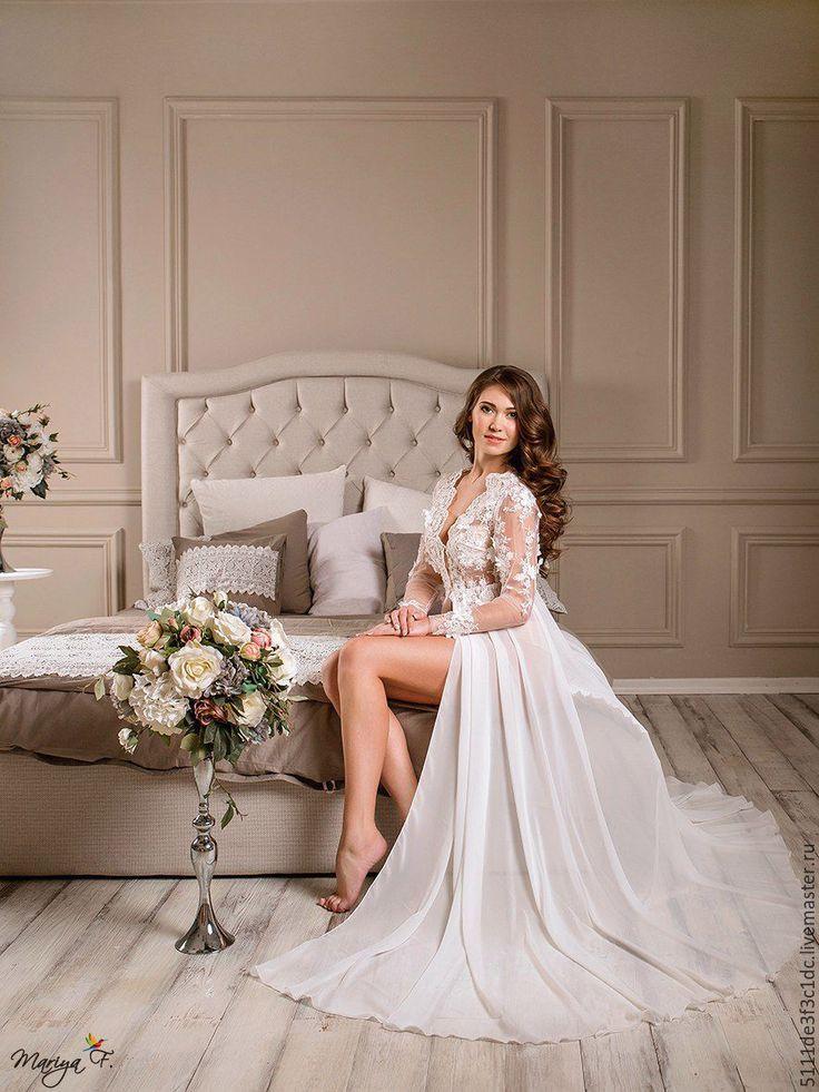 Купить Пеньюар - белый, кружево для отделки, женственность, будуарное платье, нежность, подарок девушке, шифон