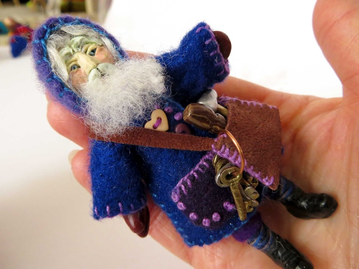 Wandering Woodcutter, 2011, miniature felt and polymer clay art doll by Lorraine K. Muenster. This is a Heinzelman