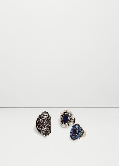Zestaw pierścionków z kryształkami