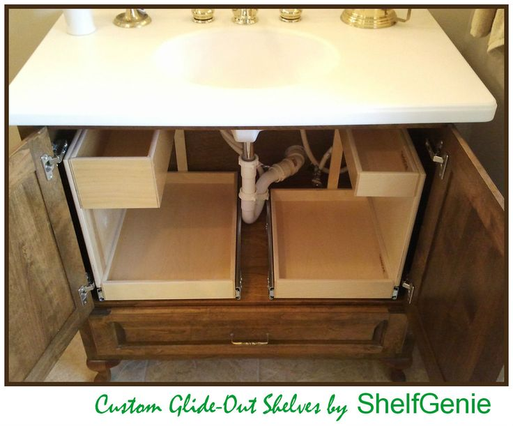 A tidy solution for your #bathroom #vanity - custom pull out #shelves built to fit around the plumbing in your existing cabinets. Photo: A tidy solution for your #bathroom #vanity - custom pull out #shelves built to fit around the plumbing in your existing #cabinets.