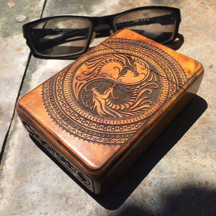 Dragon Yin Yang Teak Wood Cigarette Case, Cigarette Box, Cigarette Holder by…