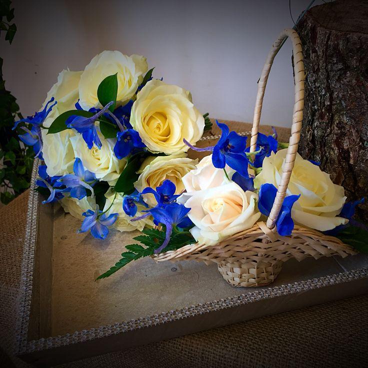Wedding bridesmaid bouquet & flower girl basket by cherryblossomweddings.net in blue and cream.
