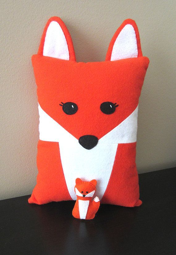 Fox Pillow Pattern with Felt Fox Pup includes Raccoon PDF Tutorial Ba…