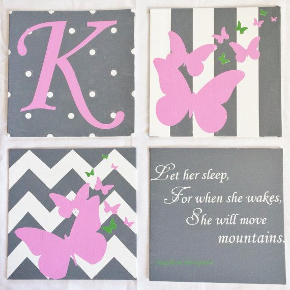 Set of four 12 X 12 nursery hand painted by MrsHutchsCreations