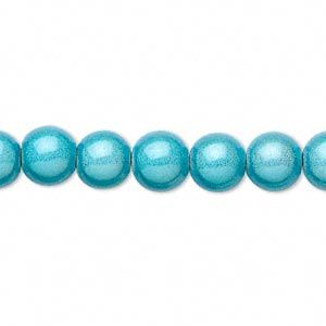 Wonder bead, round, 4mm, turquoise, sold per 16-inch strand,