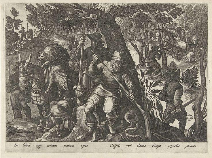 Philips Galle | Zwijnenjacht met geweren, Philips Galle, 1578 | Op de voorgrond onder een boom staat een jager die zijn geweer laadt. Achter hem een jager met speer en twee jachthonden. Links een ezel beladen met twee dode zwijnen. Rechtsachter wordt geschoten. Met een regel onderschrift in het Latijn. No. 7 uit een serie over jachten.