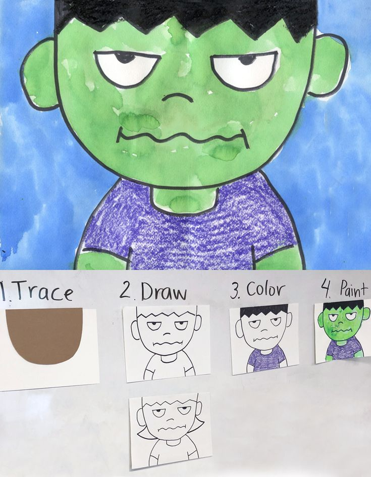 Draw a Crankenstein. Great kinder project for facial expressions. #halloween