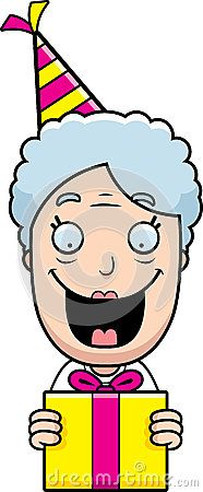 Cartoon Grandma Birthday Present Stock Vector - Image: 47447849