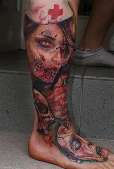 Zombies. Done by Mario Hartmann. #tattoo #tattoos #ink
