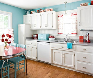 This retro yet modern kitchen is just so cute! Love the red and turquoise together.:
