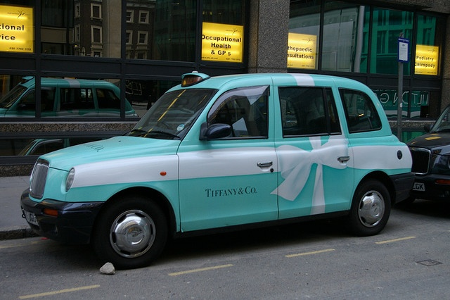 take a turquoise tiffany taxi