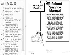 Bobcat 1250 thru 6560 Breaker Attachment Service Repair
