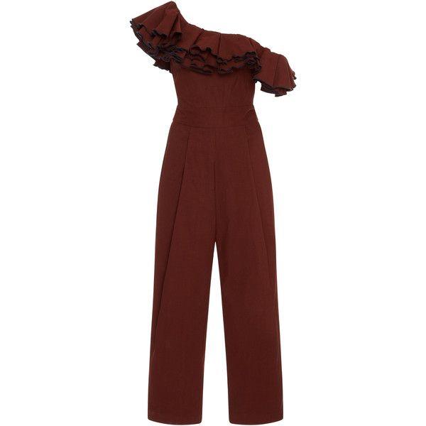 Sea Carmen Ruffle Jumpsuit ($455) ❤ liked on Polyvore featuring jumpsuits, brown, ruffle jumpsuit, sea, new york, red jumpsuit, brown jumpsuit and flounce jumpsuit