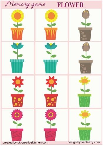 flower memory game free printables baby pinterest flower memories and free printable. Black Bedroom Furniture Sets. Home Design Ideas