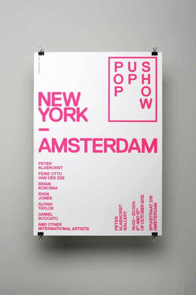Flyer design by Amsterdam studio OK200 for The Amsterdam New York Pop Up Show.