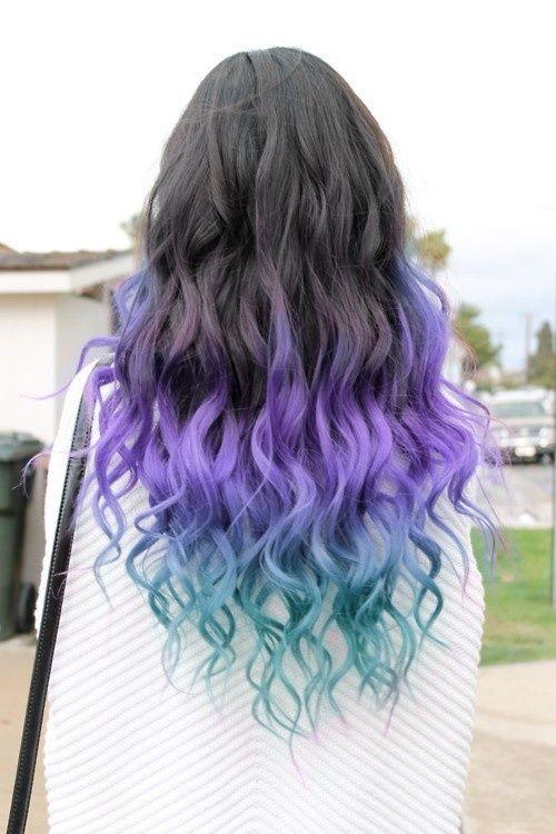 dip dye hair blue on black hair - Google Search