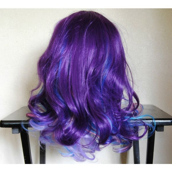 SALE - ELECTRIC MIST wig // Blue Purple Pink Hair // Lolita Scene Emo... ($72) ❤ liked on Polyvore featuring beauty products, haircare, hair styling tools, hair, hairstyles, wigs, hai, flat iron, curly hair care and straightening iron