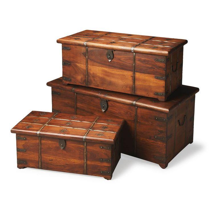 Arcadia Transitional Rectangular Storage Trunk Set Medium Brown