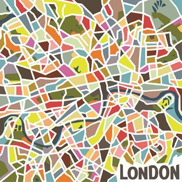 $99, London in Color Wall Art OL1403, 39'' x 39'' x 4'', Traditional topography serves as inspiration for this modern art print of London's bustling boroughs. An explosive mosaic of vibrant colors reveals a labyrinth of neighborhoods - from Camden to Kensington and beyond.