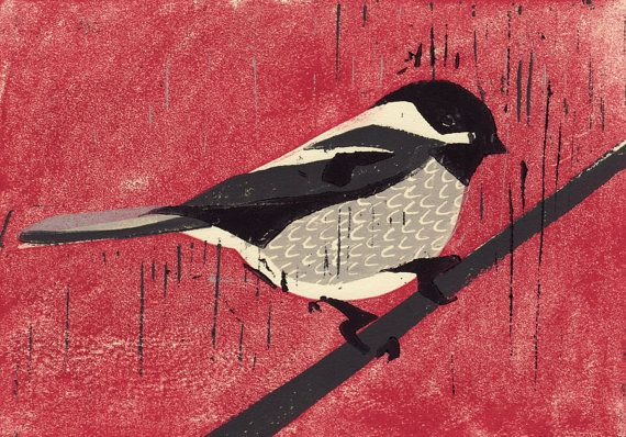 Black Capped CHICKADEE hand pulled hand carved linocut art oil paint print, christmas, red, grey, black