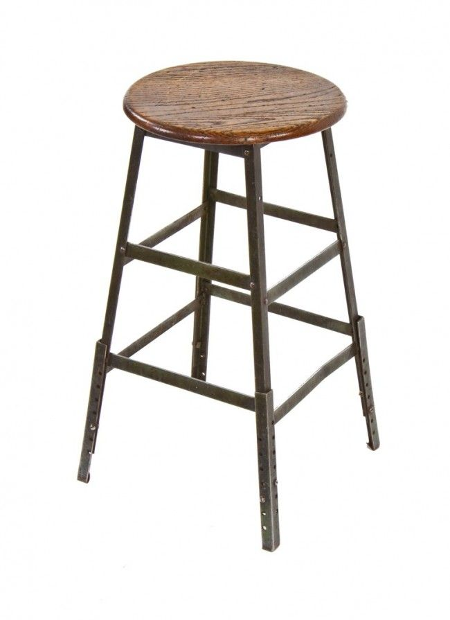 Late 1940 S Original Four Legged Riveted Joint Angled Iron Pollard Factory Machinist Stool With Adjule Leg Extensions And Solid Oak W Bar Stools