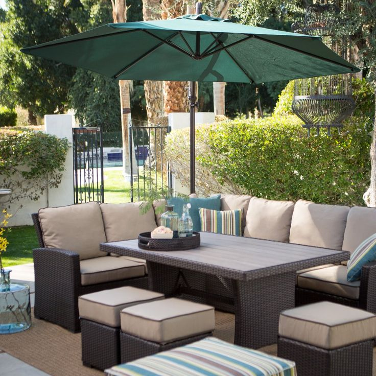 Buy Belham Living Monticello All-Weather Wicker Sofa Sectional Patio Dining Set: Sofa: 76.38W x 28.74D x 33.07H in.. View ratings, reviews or browse similar Patio Dining Sets at Hayneedle.