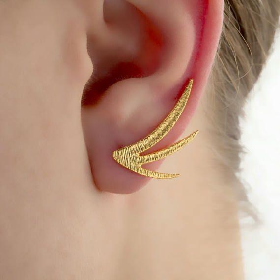 Trident Ορειβάτες αυτί, Ζεύγος Μινιμαλιστική Σκουλαρίκια, Minimal Ορειβάτες αυτί, αυτί σφαλιάρα, 925 εξαιρετικό ασήμι, 18Κ επιχρυσωμένα, υφή σκουλαρίκια