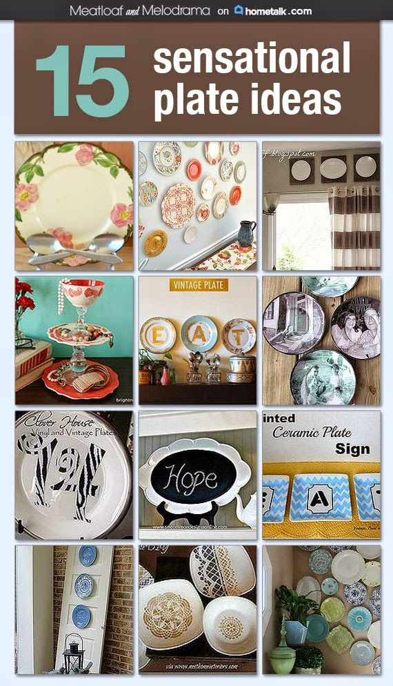 This is a GREAT way to use all my gorgeous plates that I keep, but never use (too pretty!). Look at these beautiful ideas—too cool!