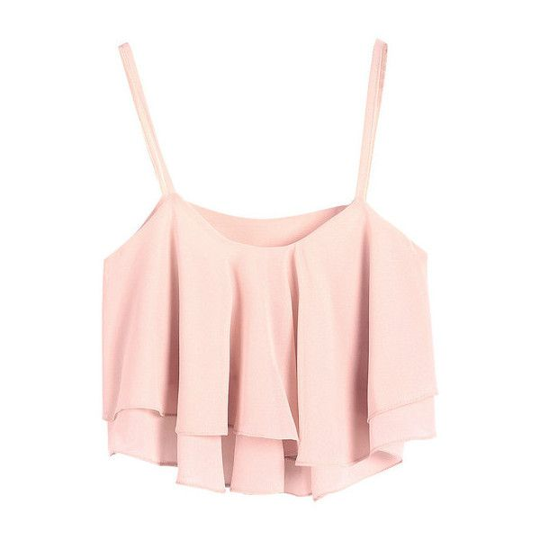 Ruffled layers Crop top Pink (77 BRL) ❤ liked on Polyvore featuring tops, shirts, crop tops, tank tops, layered ruffle top, crop tank, shirts & tops, tiered ruffle tank and shirt crop top