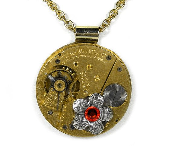 Steampunk Jewelry Necklace ILLINOIS Gold Pocket Watch Silver