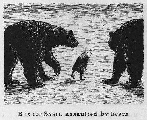 Edward GoreyEdwardgorey, Bears, Gashlycrumb Tiny, Illustration, Art, Children, Edward Gorey, Alphabet Book, Basil