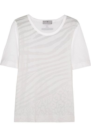 Adidas by Stella McCartney - Devoré Cotton-blend T-shirt - White -