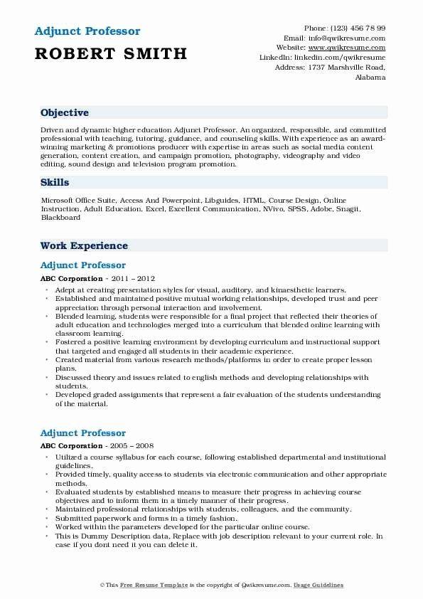 Adjunct Professor Resume With No Experience Printable Resume Template Adjunct Professor Resume No Experience Adjunct