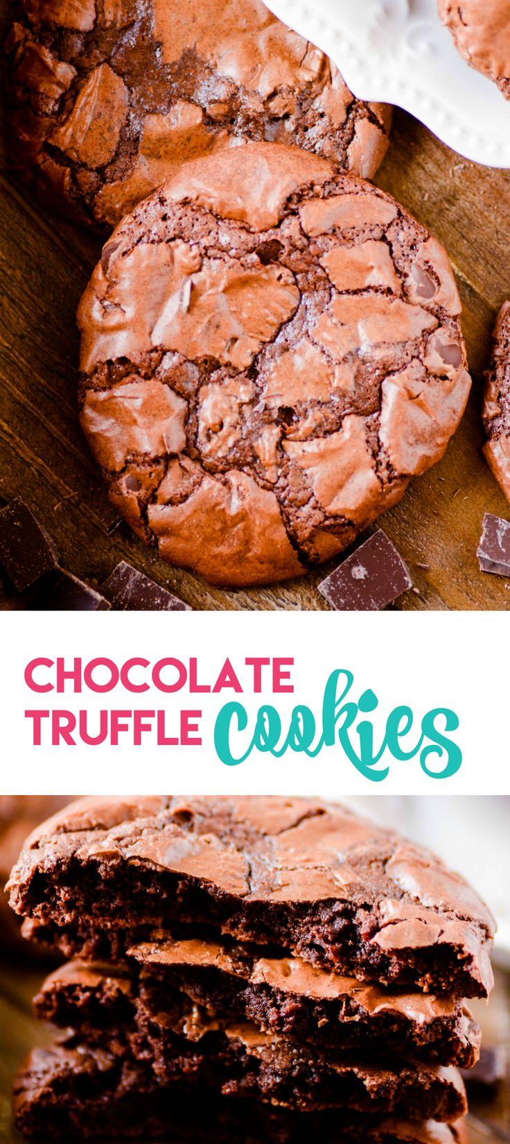 Chocolate Truffle Cookies https://www.somethingswanky.com/chocolate-truffle-cookies/?utm_campaign=coschedule&utm_source=pinterest&utm_medium=Something%20Swanky&utm_content=Chocolate%20Truffle%20Cookies