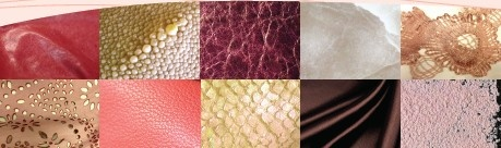 SENSUAL MELODY  MATERIALS & TEXTURES  Voluptuous, enveloping materials, all soft and luxurious.  Very supple nappa leather / Patent leather / Pastel shagreen stingray skin / Graphic pleated leather / Perlato leather  or cloudy, pearly finishes / Matt metalized pull-up leather / Tulle and lace overlaid leather / Velvet / Double-layer satin / Linen, raw cotton canvas / Rex fur / Lacy textiles, furs or leather / Fancy fringes, with motifs or beads / Old gold, antique copper, or brushed bronze…