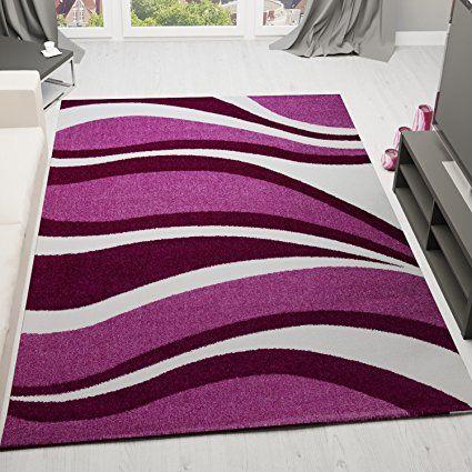 Velours Frisée Modern Teppich Preiswert Lila Pink Blitzversand Neu VIMODA OVP, Maße:200 cm x 290 cm
