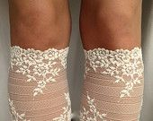 Lace Boot Cuff Socks, Beige-Nude lace  boot topper - wellies boot cuff - lace leg warmers / READY TO SHIP