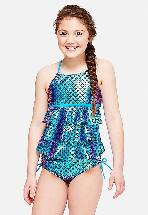 a68847315dc Mermaid Scales Tiered Tankini | Justice | Justice new do in 2019 ...