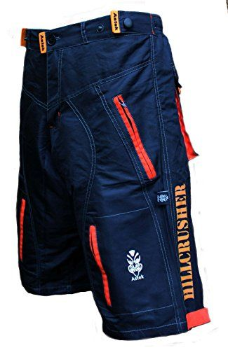 Astek Mens Orange Black MTB BMX Baggy Padded Mountain Bike Shorts (Large) - World of Cycling - The Internet Bicycle Store