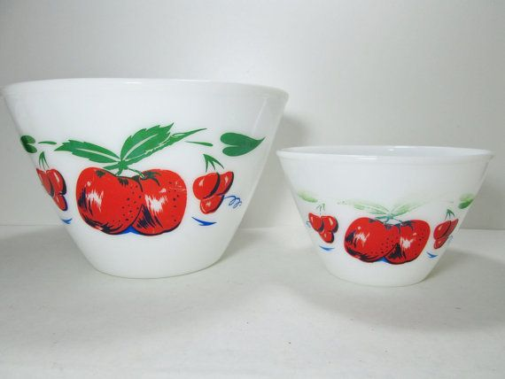 Fire King Mixing Bowls Apple and Cherry 9 1/2 and 6 by GirlPickers