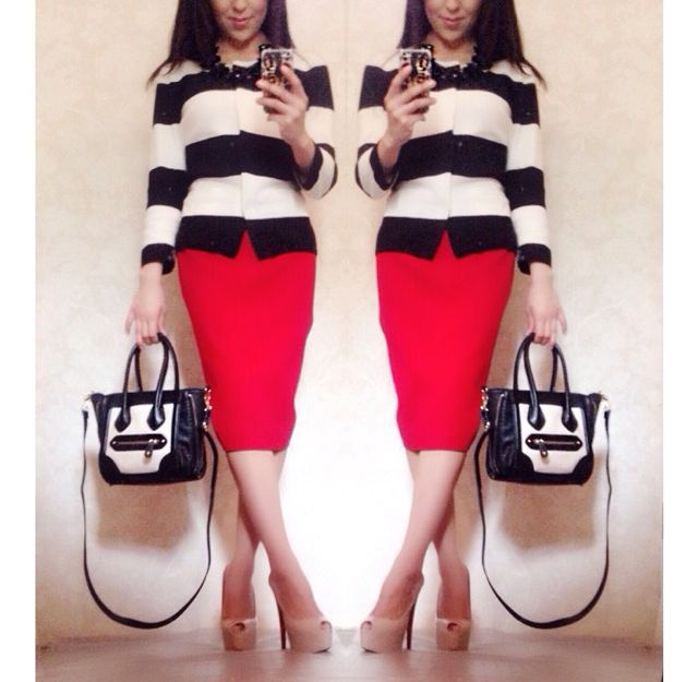 Classic Stripes and Red Pencil Skirt | Modest Style Blog