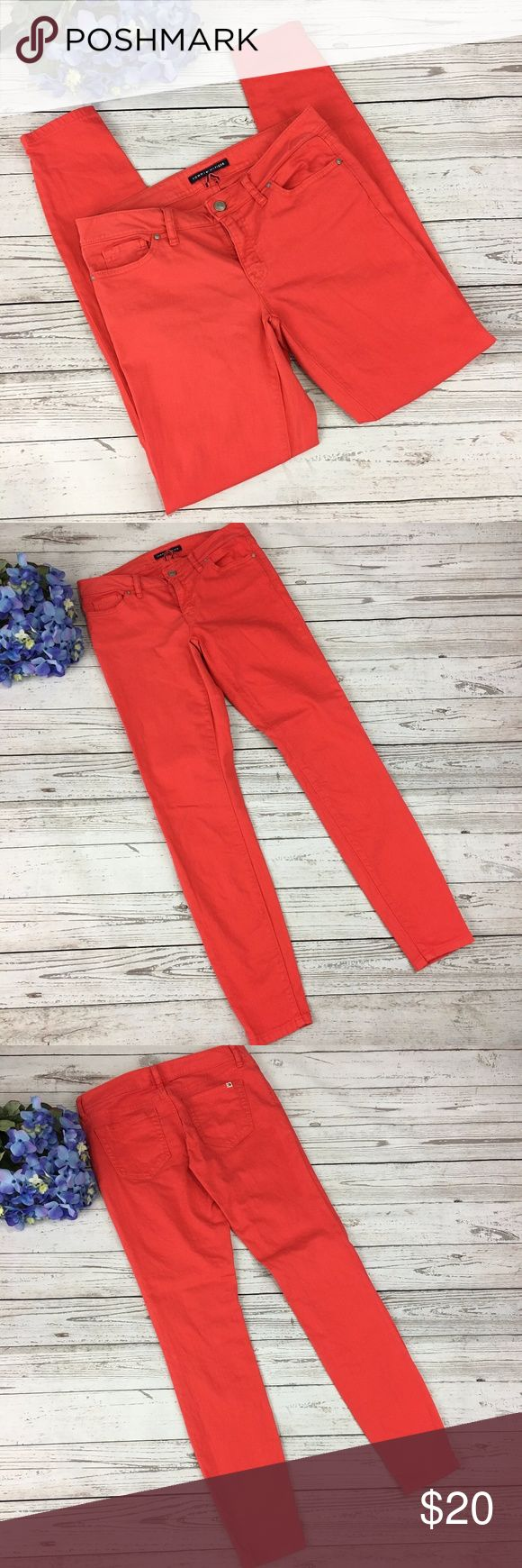 "Tommy Hilfiger Burnt Orange Skinny Jeans Tommy Hilfiger burnt orange skinny jeans. Size 2. Good pre-owned condition – no holes or stains. No trades.  98% Cotton, 2% Elastane Machine wash  Measurements laying flat (approximate): Waist: 15"" Inseam: 30.5"" Rise front: 7.5"" Tommy Hilfiger Jeans Skinny"